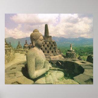 Vintage Java, Borobodur temple, Buddha figure Poster