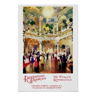 Vintage jazz age advertisement Restaurant Frascati Poster