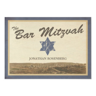 Vintage Jerusalem Bar Mitzvah Invitation in Navy