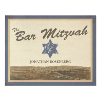 Vintage Jerusalem Bar Mitzvah Reply Card in Navy