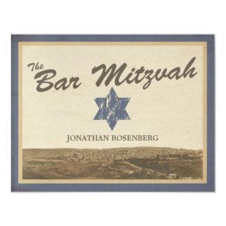 Vintage Jerusalem Bar Mitzvah Reply Card in Navy
