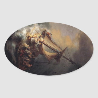 Vintage Jesus calming storm painting Oval Sticker