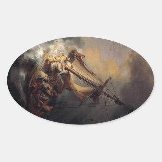 Vintage Jesus calming storm painting Oval Sticker