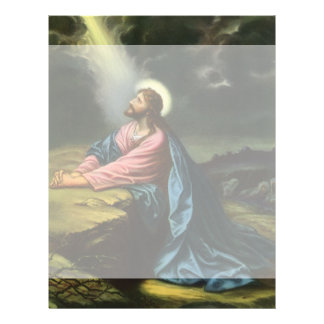 Vintage Jesus Christ Praying in Gethsemane Letterhead Design