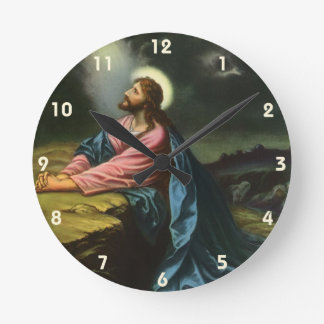 Vintage Jesus Christ Praying in Gethsemane Round Clock