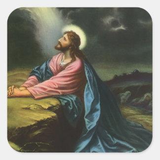 Vintage Jesus Christ Praying in Gethsemane Square Sticker