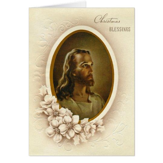 Vintage Jesus Christmas Blessings Card