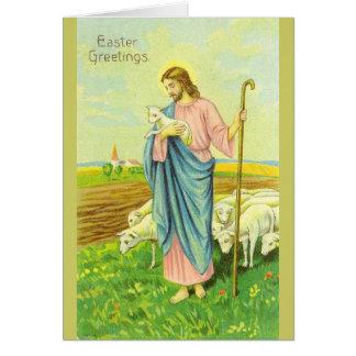 Vintage Jesus Shepherd Easter Greeting Card