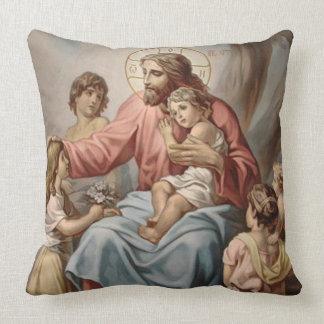 Vintage Jesus with Children Boys Girls Throw Pillow