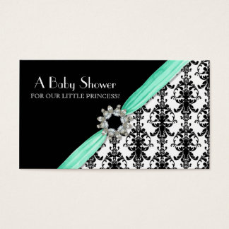 Vintage Jewel Buckle Black White Damask Ribbon Business Card