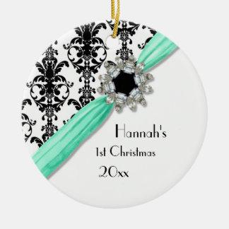 Vintage Jewel Buckle Black White Damask Ribbon Ceramic Ornament