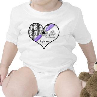 Vintage Jewel Buckle Black White Damask Ribbon Baby Creeper