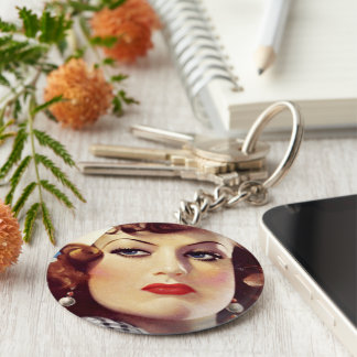 Vintage Joan button Keychain