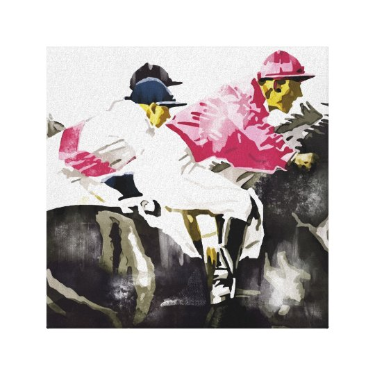 Vintage jockeys horse racing art canvas print