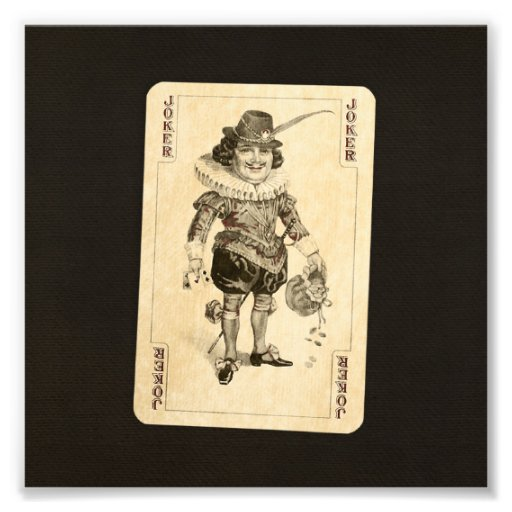 Vintage Joker Playing Card on Black Burlap Like Photo Print