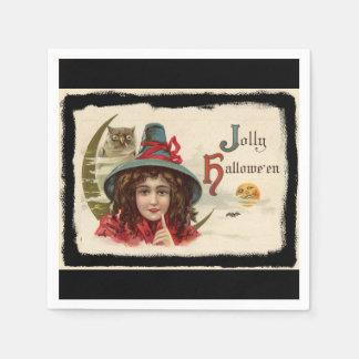 Vintage Jolly Halloween Witch Paper Napkin