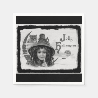 Vintage Jolly Halloween Witch Paper Napkins