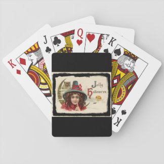 Vintage Jolly Halloween Witch Playing Cards