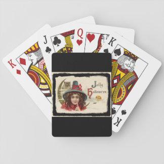 Vintage Jolly Halloween Witch Poker Deck