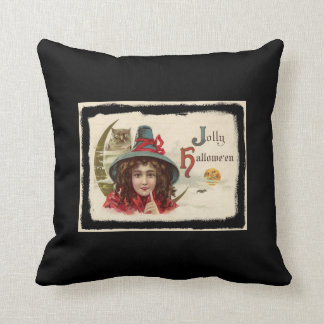 Vintage Jolly Halloween Witch Throw Pillow