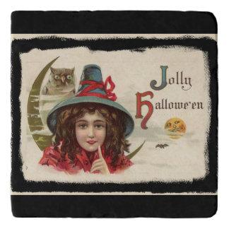Vintage Jolly Halloween Witch Trivet