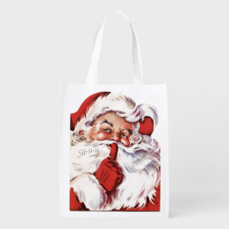 Vintage Jolly Old Santa Shhh Christmas Reusable Grocery Bag