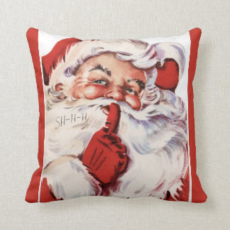 Vintage Jolly Old Santa Shhh Red Throw Pillow