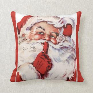 Vintage Jolly Old Santa Shhh Red Throw Pillow
