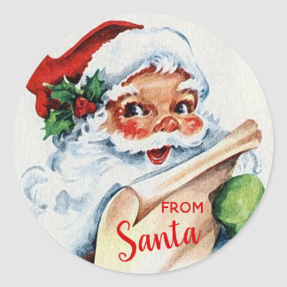 Vintage Jolly Santa Claus FROM SANTA Classic Round Sticker