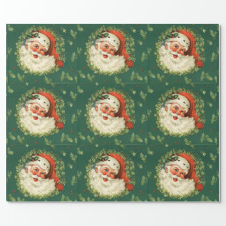 Vintage Jolly Santa Wrapping Paper