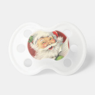 Vintage Jolly Winking Santa Claus Illus - Pacifier