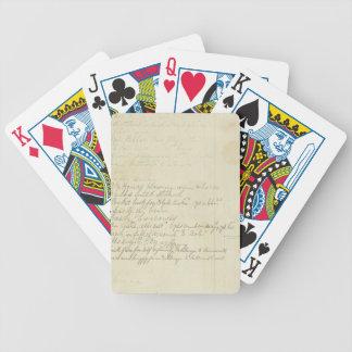 Vintage Journal Handwriting Bicycle Playing Cards