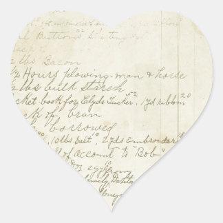 Vintage Journal Handwriting Heart Sticker