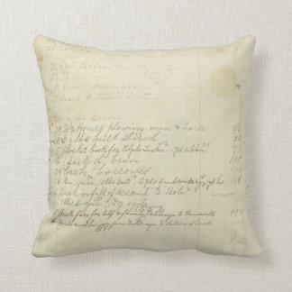 Vintage Journal Handwriting Throw Pillow