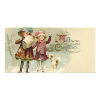 Vintage Joyful Christmas Girls Photocard Card