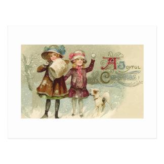 Vintage Joyful Christmas Girls Postcard
