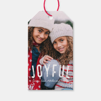 Vintage Joyful Holiday Photo Tag