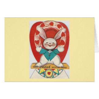 Vintage Juggle Bunny Valentine Card
