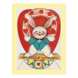 Vintage Juggle Bunny Valentine Postcard