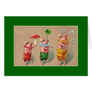 Vintage Juggling Pigs Card