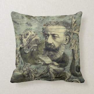 Vintage Jules Verne Periodical Cover Throw Pillow