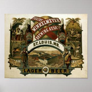 Vintage Julius Winkelmeyer Brewing Beer Ad Poster