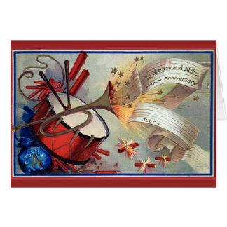 Vintage July 4 Anniversary Fireworks Greeting Card