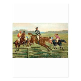 Vintage Jumping Horses Postcard