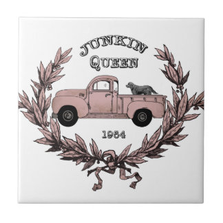 Vintage Junkin Queen truck tile decor
