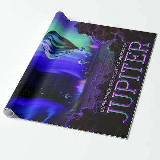 Vintage Jupiter Mighty Auroras Balloon Travel Wrapping Paper