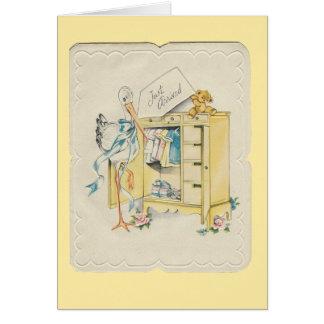 "Vintage ""Just Arrived"" Baby with Stork Card"