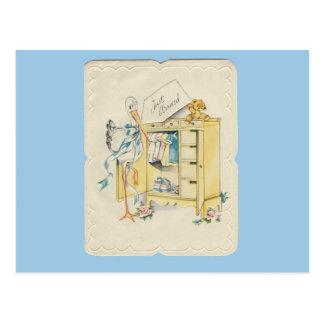 """Vintage """"Just Arrived"""" Baby with Stork Postcard"""