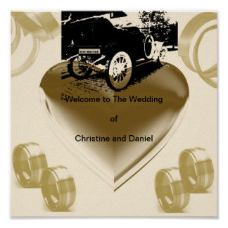"""Vintage Just Married Car""* Poster"