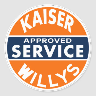 Vintage Kaiser Willys service sign Round Sticker